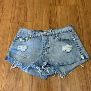 One Teaspoon Bandits Distressed Jean Shorts